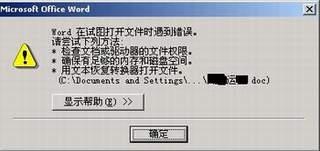 Word 在试图打开文件时遇到错误