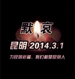 为3.1云南昆明火车站暴恐袭击事件中不幸遇难的同胞默哀